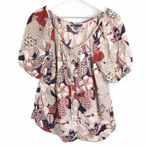 Lucky Brand Mod Floral Retro Peasant Top Tunic